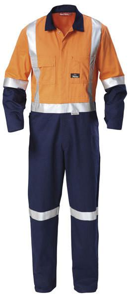 Hard Yakka-Hard Yakka Hi-visibility Two Tone Cotton Drill Coverall With 3m Tape-Orange/Navy / 31 x 35-Uniform Wholesalers - 1