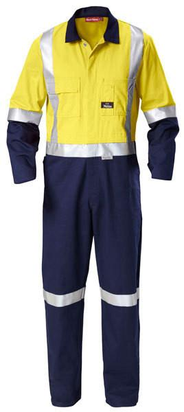 Hard Yakka-Hard Yakka Hi-visibility Two Tone Cotton Drill Coverall With 3m Tape-Yellow/Navy / 33 x 35-Uniform Wholesalers - 2