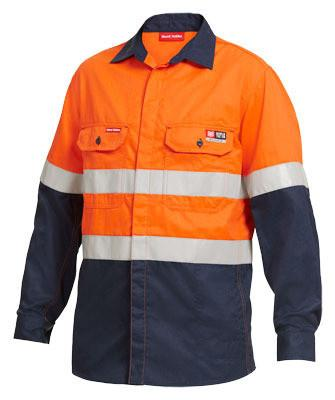 Hard Yakka Shieldtec Fr Hi-Visibility Two Tone Open Front Long Sleeve Shirt With Fr Tape (Y04350)