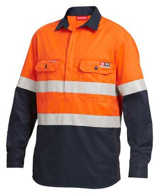 Hard Yakka Shieldtec Fr Hi-Visibilty Two Tone Closed Front Long Sleeve Shirt With Fr Tape (Y04550)