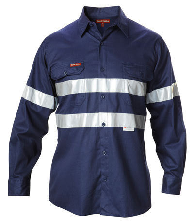 Hard Yakka Hi-visibility Cotton Drill Shirt With 3m Tape Long Sleeve (Y07227)