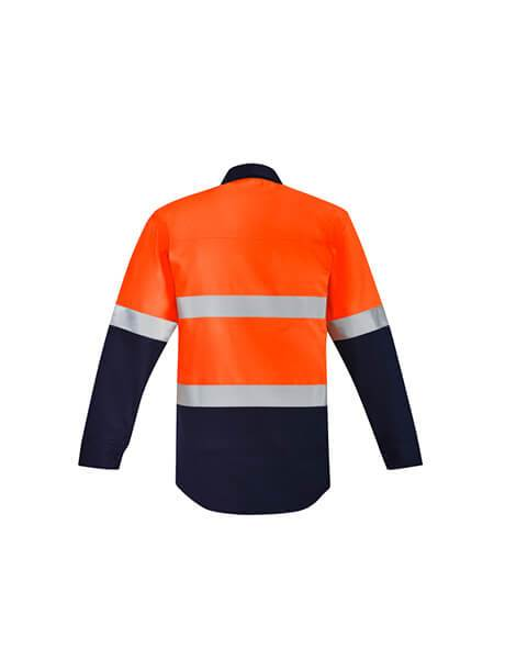 Syzmik Mens Orange Flame Hrc 2 Hoop Taped Closed Front Spliced Shirt (ZW143)