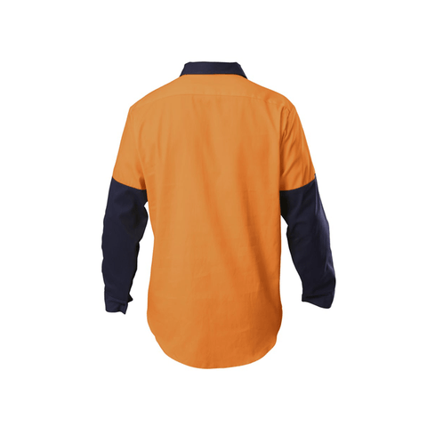 Hard Yakka  Hi-visibility Two Tone Cotton Drill Closed Front Shirt With Gusset Long Sleeve