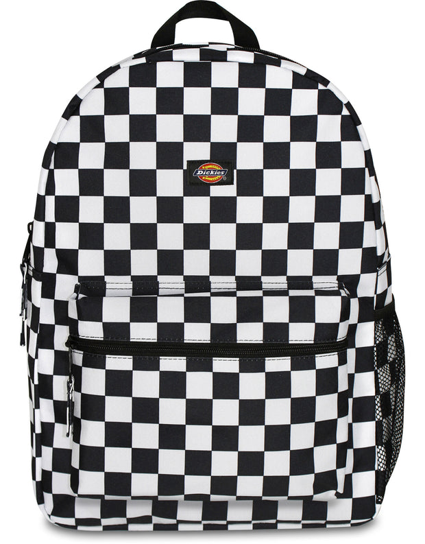 Student Black Checkered Backpack, Black White Checkered