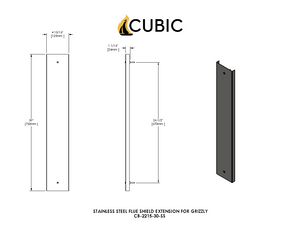 "CB-2215-SS 30"" Flue Shield Extension (Grizzly)"