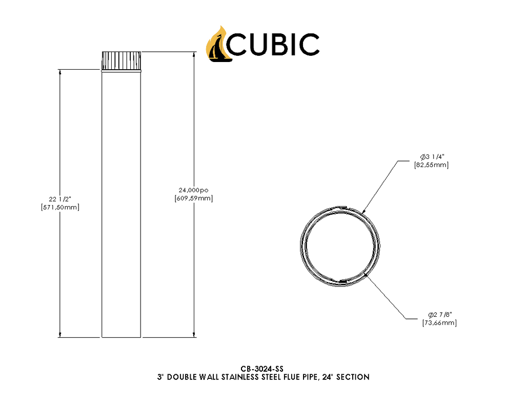Cb 3024 Ss 3 Quot Stainless Steel Double Wall Flue Pipe