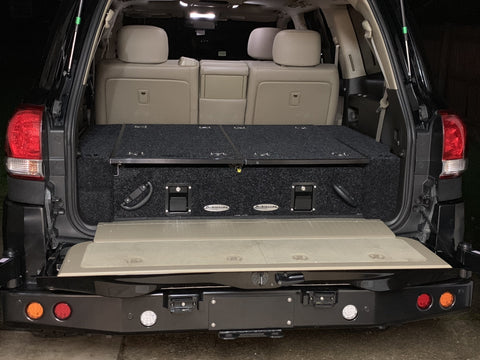 Dobinsons Rear Dual Roller Drawer System for Toyota Land Cruiser 200 Series 2008-2019 with Fridge Slide and Side Panels