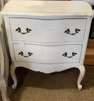 Distressed White Nightstand with Drawers