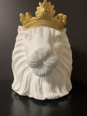 Brand New!! White Lion Head with Gold Crown