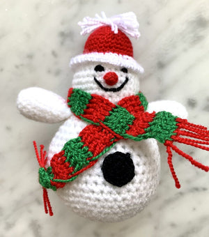 Handmade Knitted Snowman Holiday Ornament