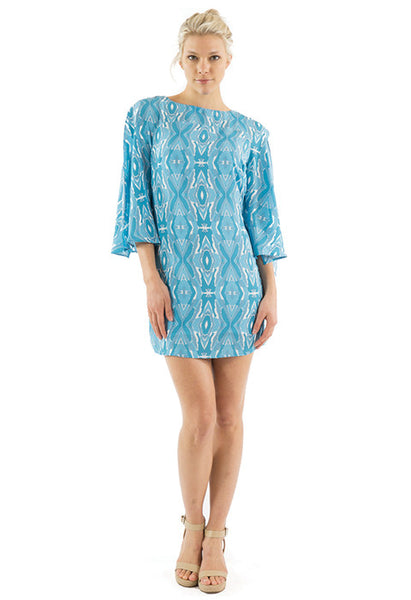 LUCY OPEN SLEEVE DRESS - SANTORINI PRINT
