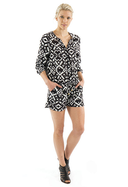 CARLY LONG SLEEVE ROMPER - BLACK GEO PRINT