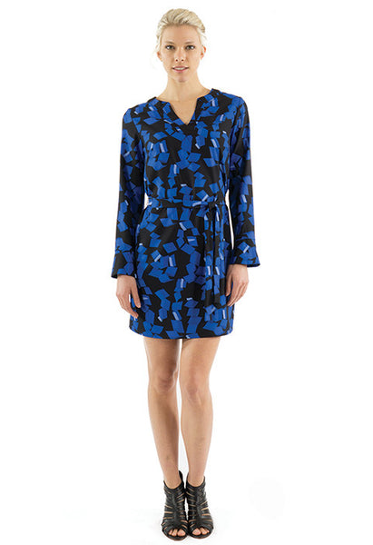 KATIE DRESS - COBALT PRINT