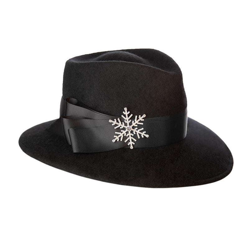 Eric Javits Women Hats Black Snow Flake Fedora Felt Hat