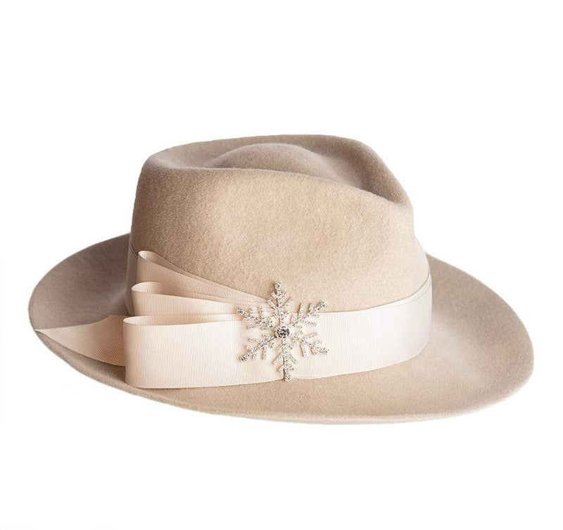 Eric Javits Women Hats Off White Snow Flake Fedora Felt Hat