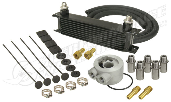 DERALE 10 ROW SERIES 10000 STACK PLATE UNIVERSAL ENGINE OIL COOLER KIT 15602