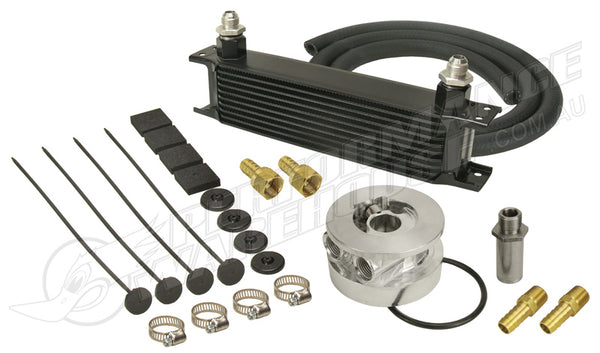 DERALE 10 ROW SERIES 10000 STACK PLATE GM V8 ENGINE OIL COOLER KIT 15603