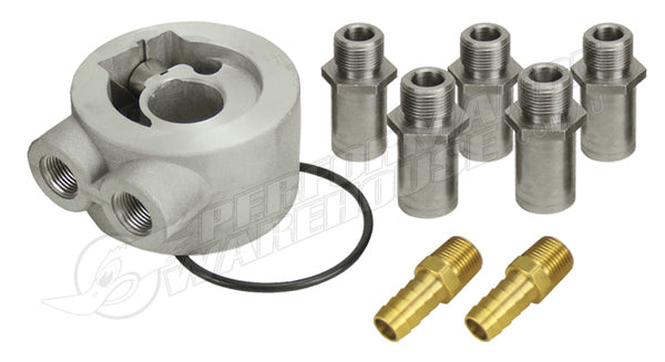 "DERALE UNIVERSAL THERMOSTATIC SANDWICH ADAPTOR KIT 3/8"" NPT PORTS 15702"