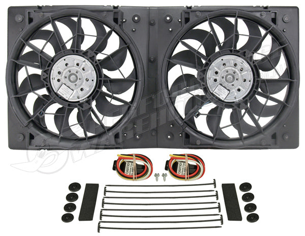"DERALE HIGH OUTPUT DUAL 13"" ELECTRIC RAD FAN ASSEMBLY MOULDED SHROUD 16928"