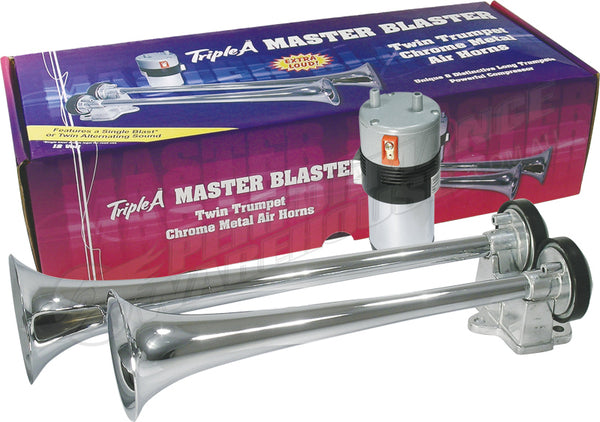 MASTER BLASTER ALTERNATING CHROME TWIN TRUMPET AIR HORN 12V VERY LOUD CAR 4WD UTE