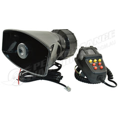 7 TONE ALARM HORN WITH MICROPHONE, 12V, 125DB