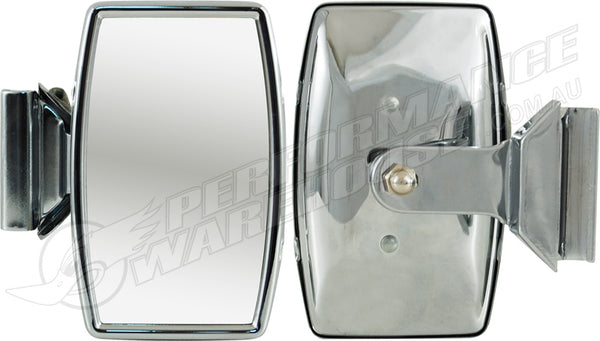 CLASSIC EXTERIOR OVERTAKER MIRROR CLAMP-ON POLISHED STAINLESS STEEL VINTAGE