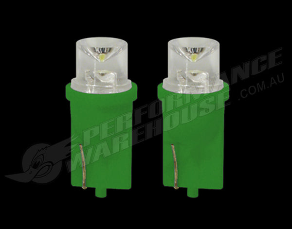 2X 3A RACING LED BLADE GLOBES GREEN T-10 2.1 X 9.5 BASE, WIDE ANGLE