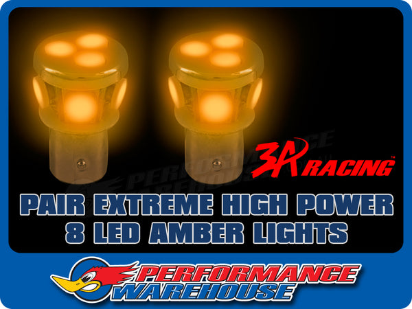 2 X EXTREME HIGH POWER 8 LED BAYONET AMBER TURN SIGNAL 12V 1156 PARALLEL PINS