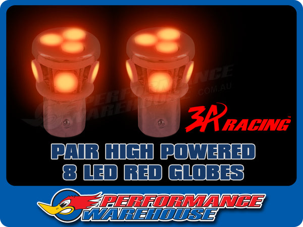 2 X EXTREME HIGH POWER 8 LED BAYONET RED STOP TAIL 12V 1157 OFFSET PINS