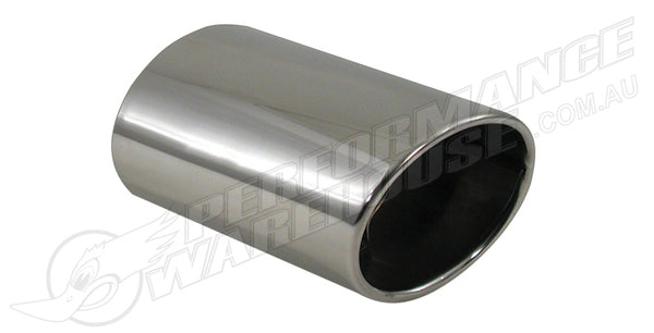 EXHAUST TIP OVAL CUT T-304 STAINLESS STEEL Adjustable to 2""