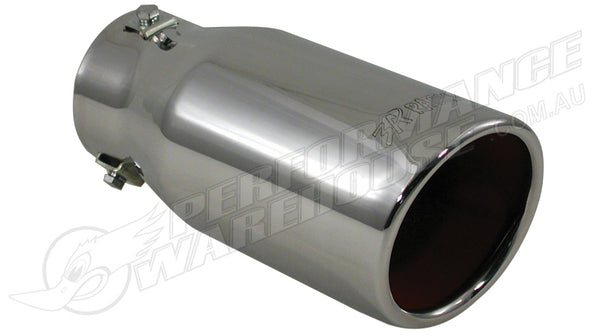 "EXHAUST TIP SLANT CUT T-304 ST STEEL 4"" Round 9"" Long Adjustable to 3"""