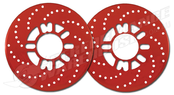 SIMULATED CROSS DRILLD DISC BRAKE ROTOR COVERS - RED