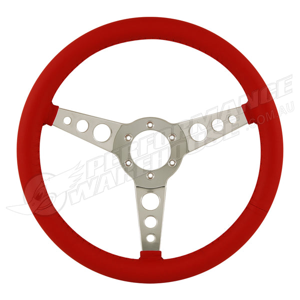 "14"" ALUMINIUM 6 BOLT STEERING WHEEL RED LEATHER FULL-WRAP SPOKES w/HOLES"