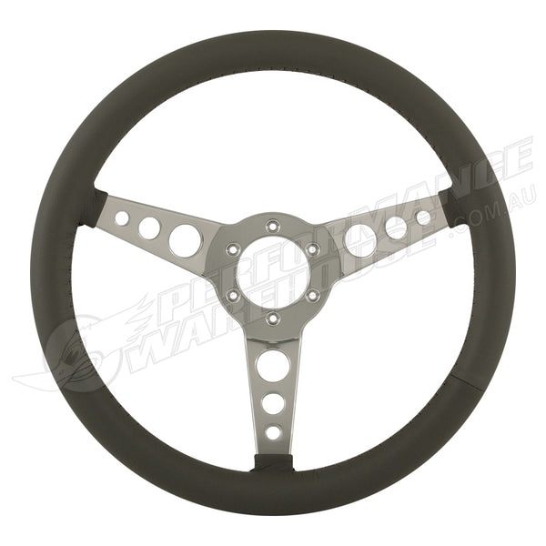 "14"" ALUMINIUM 6 BOLT STEERING WHEEL DARK GREY LEATHER FULL-WRAP SPOKES w/HOLES"