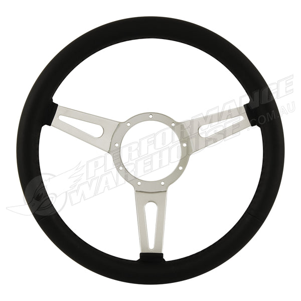 "15"" ALUMINIUM 9 BOLT STEERING WHEEL BLACK LEATHER FULL-WRAP SLOTTED SPOKES"