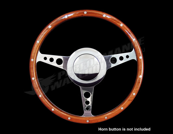 "14"" FLAT WOOD RIM STEERING WHEEL 9 BOLT & BILLET ADAPTOR VOLKSWAGEN VW 1200-1600"