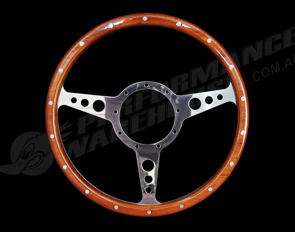 "CLASSIC 3 SPOKE FLAT 13"" WOOD RIM STEERING WHEEL 9 BOLT MG STREET ROD CUSTOM"