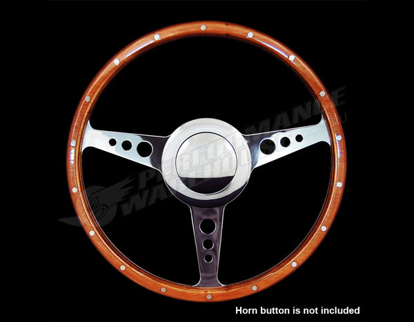 "14"" FLAT WOOD RIM STEERING WHEEL 9 BOLT & BILLET ADAPTOR GM/CHEV 1967-1994"
