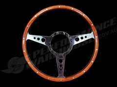 "CLASSIC 3 SPOKE FLAT 14"" WOOD RIM STEERING WHEEL 9 BOLT MG STREET ROD CUSTOM"