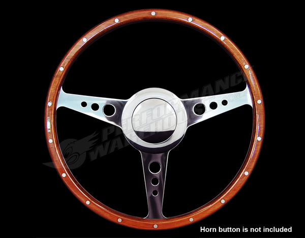 "15"" FLAT WOOD RIM STEERING WHEEL 9 BOLT & BILLET ADAPTOR VOLKSWAGEN VW 1200-1600"