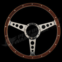 "CLASSIC 3 SPOKE 2"" DISH 15"" WOOD RIM STEERING WHEEL 9 BOLT MG STREET ROD CUSTOM"