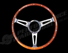 "CLASSIC 3 SPOKE DISHED 15"" WOOD RIM STEERING WHEEL 9 BOLT MG STREET ROD CUSTOM"