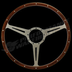 "17"" FLAT WOOD RIM STEERING WHEEL w/ADAPTOR VW TRANSPORTER KOMBI TYPE 2 1949-67"