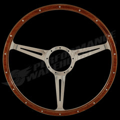 "17"" DISHED WOOD RIM STEERING WHEEL w/ADAPTOR VW TRANSPORTER KOMBI TYPE 2 1949-67"