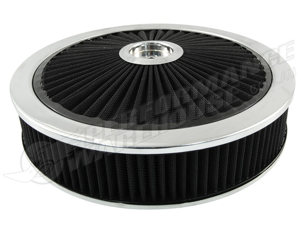 "CAL CUSTOM EXTREME AIR CLEANER ASSEMBLY 14"" X 3"", BLACK FILTER ELEMENT"