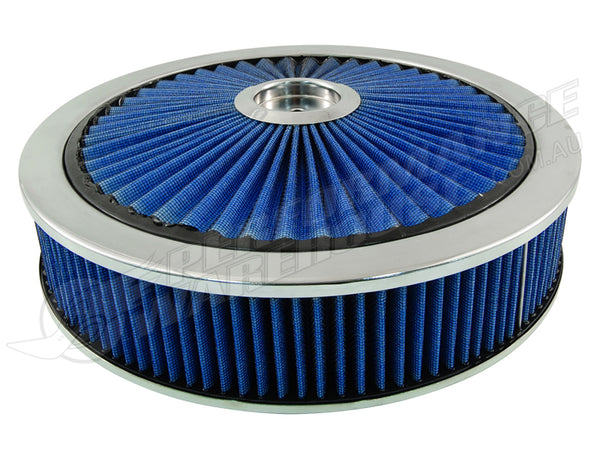 "CAL CUSTOM EXTREME AIR CLEANER ASSEMBLY 14"" X 3"", BLUE FILTER ELEMENT"