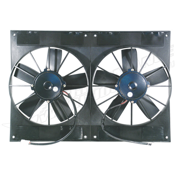"CAL CUSTOM DUAL 11"" HIGH OUTPUT ELECTRIC UNIVERSAL PULLER FAN 2800CFM 12VOLT"