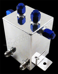 CAL CUSTOM 2 LITRE RECTANGULAR SURGE TANK -10AN POLISHED ALUMINIUM