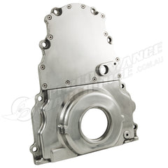 GM LS TIMING COVER W/CAM SENSOR HOLE - POLISHED ALUMINIUM