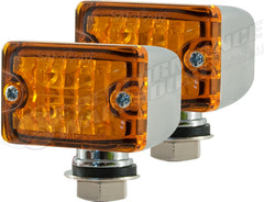 CAL CUSTOM X2 SMALL TURN SIGNAL INDICATOR LIGHT AMBER LENS LED CHROME PEDESTAL MOUNT